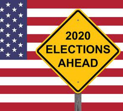 Picture of a flag with a road sign that says 2020 Elections Ahead